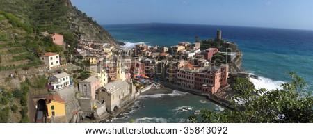 Panoramic Vernazza in Cinque Terra, Italy - stock photo