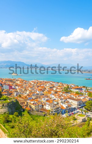 Panoramic view above the beautiful town of Nafplio on a summer day, Greece.