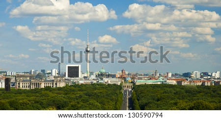 panoramic view at Berlin City Skyline from Tiergarten, Germany, Europe, Panoramablick auf Berlin, Deutschland, Europa - stock photo