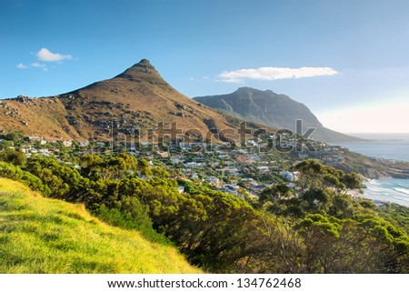 Panoramic view at Lion Peak and beach. Shot in Cape Town, South Africa. - stock photo