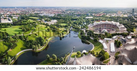 Panoramic view at Stadium of the Olympiapark in Munich, Germany - stock photo