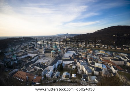 Panoramic view at sundown of old town in Salzburg Austria. - stock photo