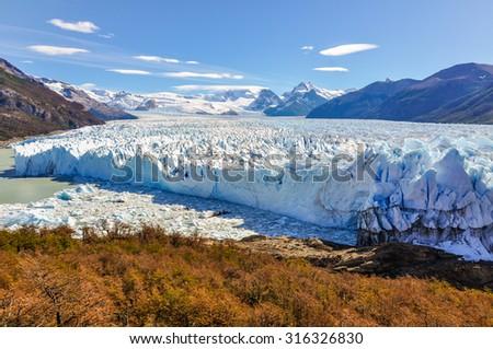 Panoramic view at the Perito Moreno Glacier, Patagonia, Argentina - stock photo