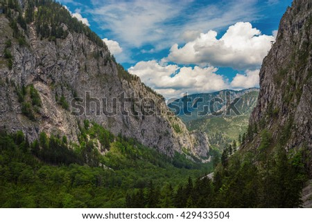 Panoramic view at Valley Hoellental at the Austrian Rax Mountain