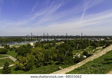 panoramic view Belgrade Serbia - stock photo