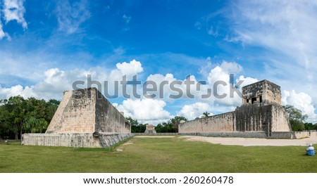 Panoramic view Chichen Itza Mexico, traveling America, Mayan Ruins, Quintana Roo. - stock photo