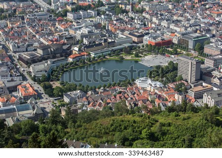 panoramic view Cityscape of Bergen, Norway in summer time