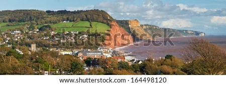 Panoramic view down to Sidmouth Devon England UK Europe - stock photo