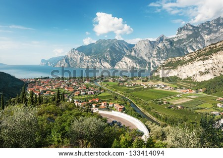 Panoramic view for Lake Garda, Italy - stock photo