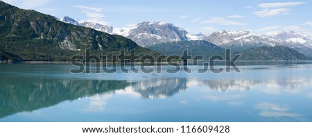 Panoramic view from a cruise ship in Glacier Bay National Park, Alaska - stock photo