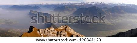 Panoramic view from a peak of Mount Pilatus, Switzerland - stock photo