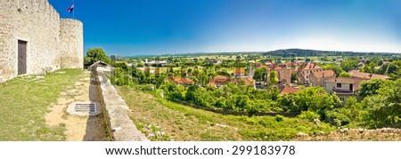 Panoramic view from Benkovac fortress , Dalmatia, Croatia - stock photo