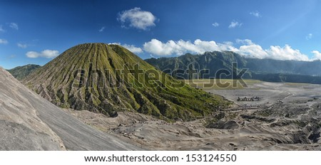 Panoramic view from Bromo crater, Java, Indonesia - stock photo