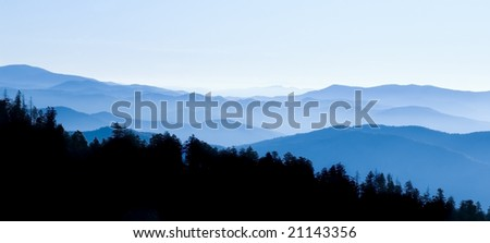 Panoramic View from Clingmans Dome, Great Smoky Mountains National Park, Tennessee - stock photo