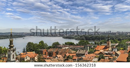 Panoramic view from Gardos Lookout In Zemun, on River Danube, Saint Nicholas Church and Church of Ascension of the Holy Virgin Mary - Zemun, Belgrade, Republic of Serbia. - stock photo