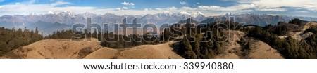 Panoramic view from Khaptad national park, mount Saipal, great himalayan trail, Rara to Khaptad trek in western Nepal - stock photo