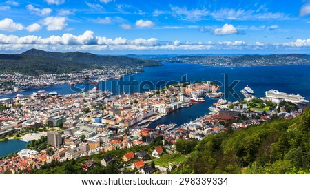 Panoramic view from Mount Floyen of Bergen, Norway. - stock photo