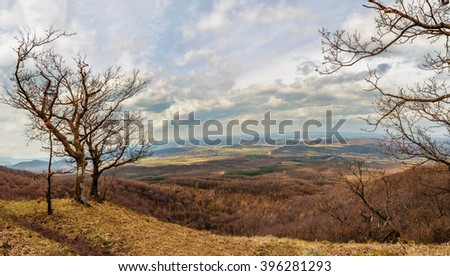Panoramic view from one of the highest mountains of Hungary