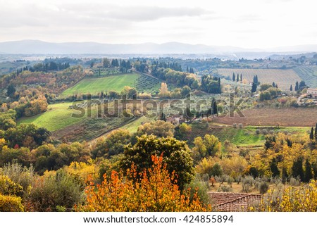 Panoramic view from San Gimignano in autumn, Tuscany, Italy