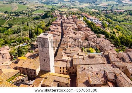 panoramic view from san gimignano, tuscany - stock photo
