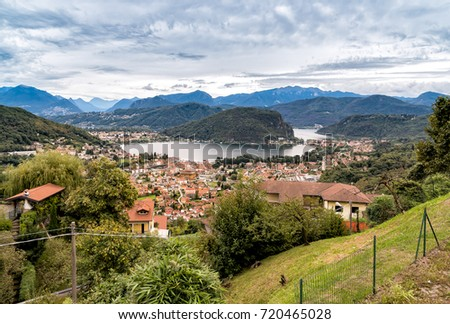 Panoramic view from small village Cadegliano Viconago of lake Lugano and Swiss Alps, Italy
