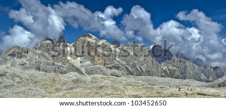 panoramic view from the magnificent plateau of the Pale di San Martino, Dolomite - stock photo