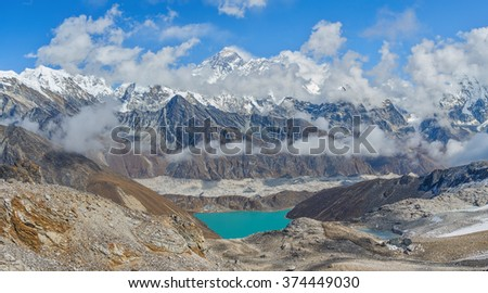Panoramic view from the Renjo Pass (5360 m) on the Mahalangur Himal, Ngozumba glacier, Dudh Pokhari Lake, and the Gokyo village - Nepal, Himalayas - stock photo