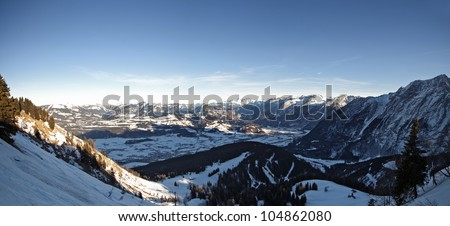 Panoramic view from the Rossfeld Panorama Road. Stitch from several images, Bavarian Alps, Berchtesgaden, Germany.