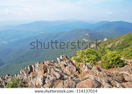 panoramic view from the Stony Man Trail, Shenandoah National Park, Virginia - stock photo