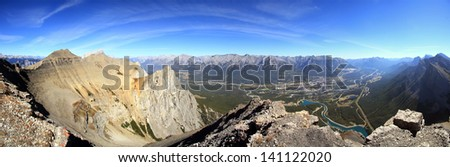 Panoramic view from the Summit of East Rundle Canmore, Alberta, Canada - stock photo