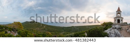 Panoramic view from the top of Mali Bokolj with the church - Lady of Loreto. Croatia