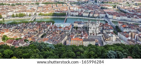 Panoramic view from the top of Notre Dame de Fourviere Basilica, Lyon - stock photo