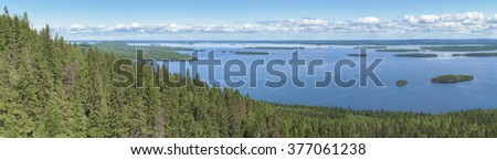 Panoramic view from the top of the Koli national park to lake Pielinen - stock photo