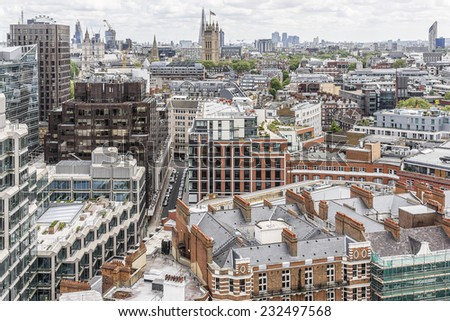 Panoramic view from Westminster Cathedral on Roofs and Houses of London, United Kingdom. - stock photo