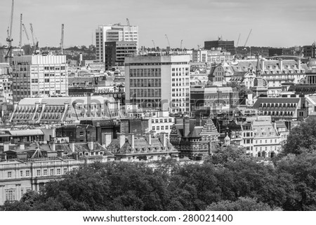 Panoramic view from Westminster Cathedral on Roofs and Houses of London, United Kingdom. Black and white. - stock photo