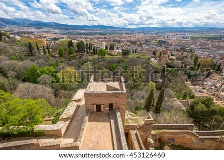 Panoramic view Granada town from the tower of Alcazaba, the military fortress of Alhambra de Granada, a World Heritage Site in Andalusia, Spain. - stock photo