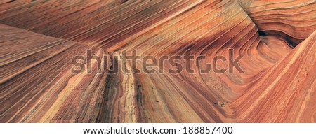 Panoramic view in an amazing sandstone canyon, Coyote Butte, Utah, USA. - stock photo