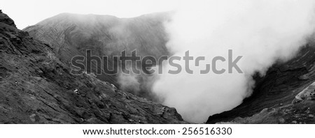 Panoramic view in black and white of bromo crater. Bromo Volcano Mountain. Fine Art Image - stock photo