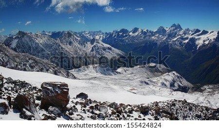 Panoramic view in the  Caucasus mountains - stock photo