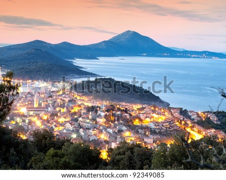 Panoramic view in the evening of a town known as Mali Losinj, Croatia.