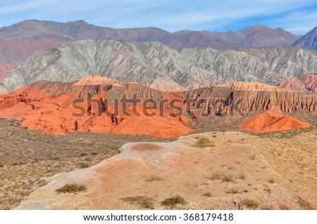 Panoramic view in the Quebrada de las Conchas near Cafayate, Salta Province, Argentina - stock photo