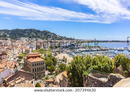 Panoramic view: Le Suquet - the Old town and Port Le Vieux in Cannes, Cote d'Azur, France. - stock photo