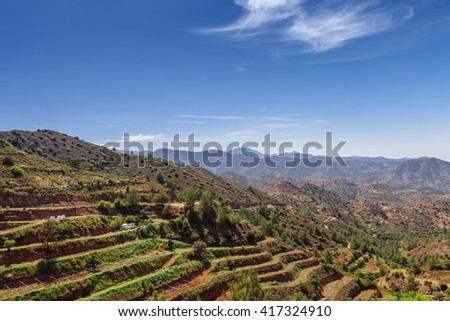 Panoramic view near of Kato Lefkara - is the most famous village in the Troodos Mountains. Limassol district, Cyprus, Mediterranean Sea. Mountain landscape and sunny day. - stock photo