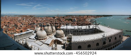 Panoramic view (North) of Venice lagoon, Doge's Palace from Campanile di San Marco. Venice, Italy. July, 2007. - stock photo