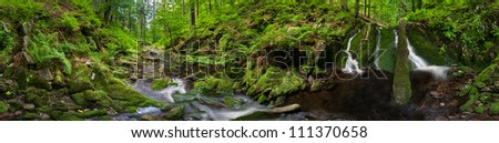 Panoramic view of a beautiful creek meander, 360 degree panorama. - stock photo
