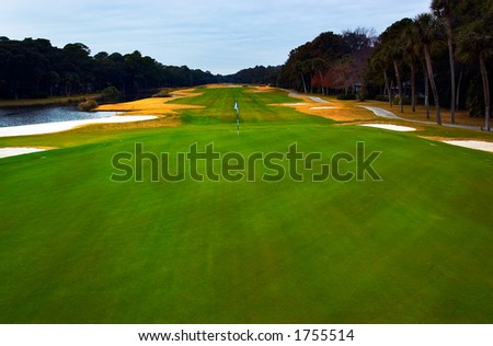 Panoramic view of a golf course. - stock photo