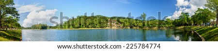 Panoramic view of a lake in Phuket on a sunny day - stock photo