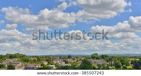 Panoramic View of a Picturesque English Town with a Beautiful Cloudy Sky above Seen from a High Vantage Point - Namely the Historic Bradford on Avon in Wiltshire England