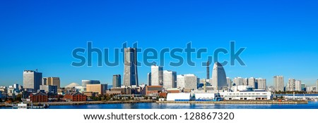 Panoramic view of a port city. - stock photo