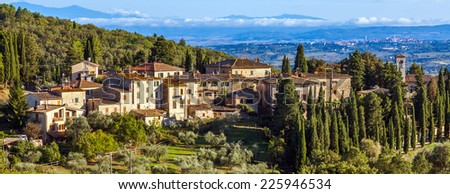 Panoramic view of a small town in Tuscany, Italy. - stock photo